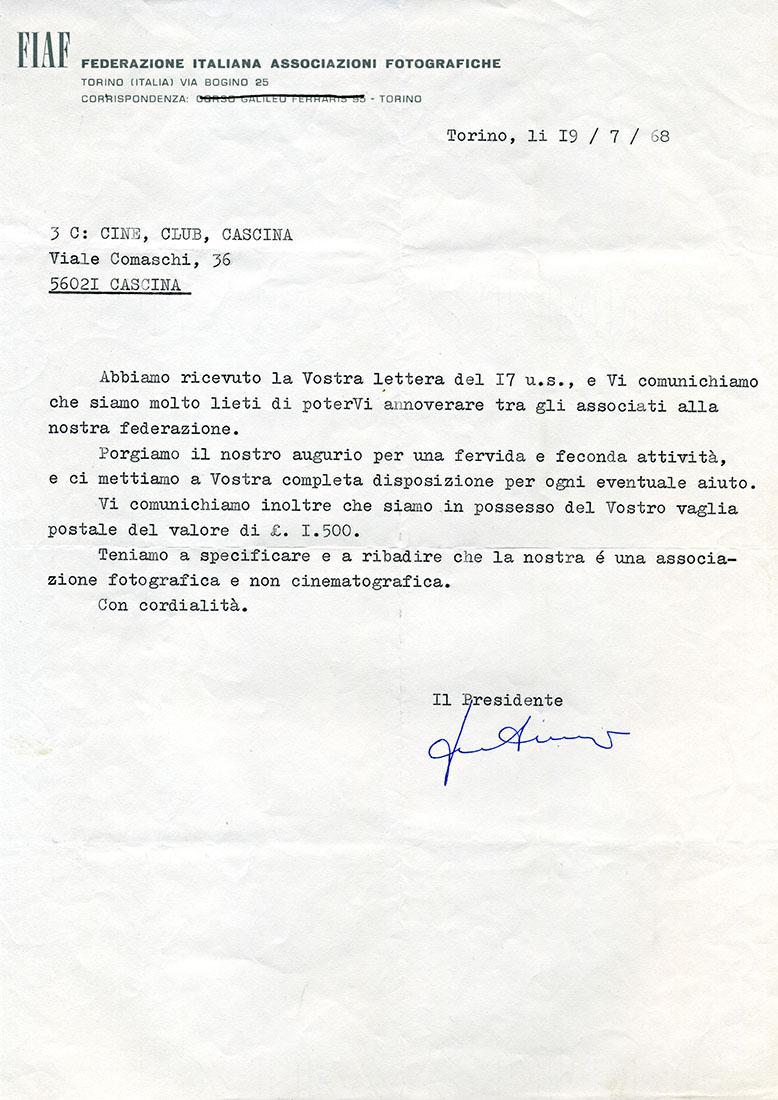 Lettera del 19/07/1968 - Associazione alla FIAF