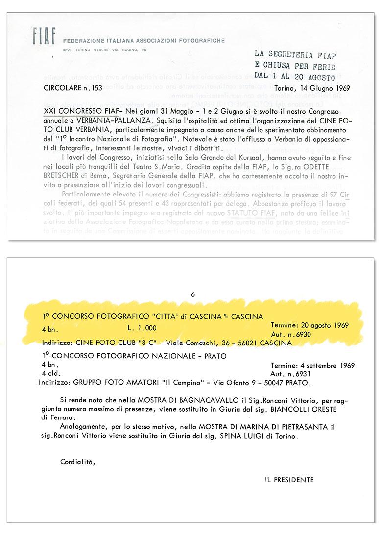 Circolare FIAF n°153 del 14/06/1969 -Concessione Patrocinio 1° Truciolo d'Oro