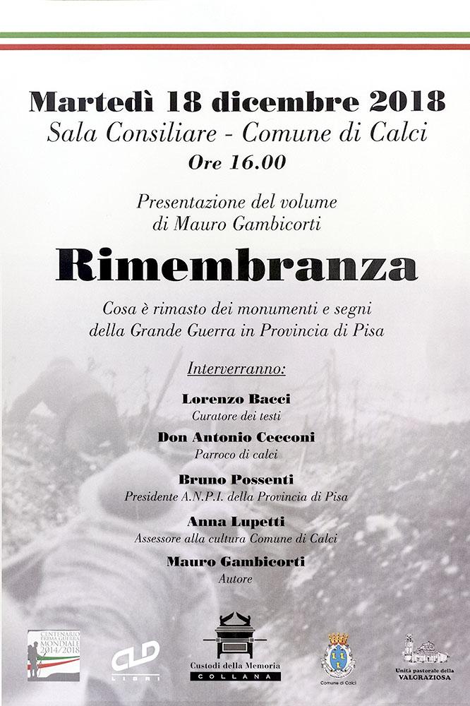"""Mauro Gambicorti """"RIMEMBRANZA"""" Monumenti e segni della Grande Guerra in Provincia di Pisa"""