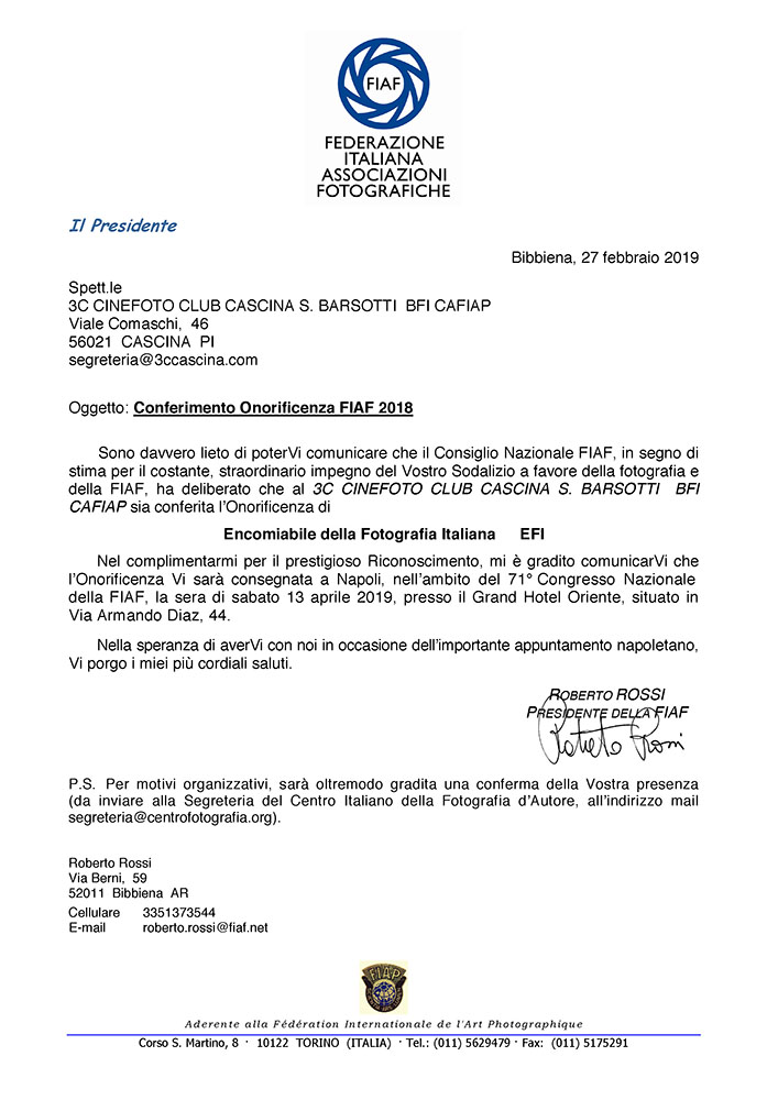 3C Cascina – Encomiabile della Fotografia Italiana