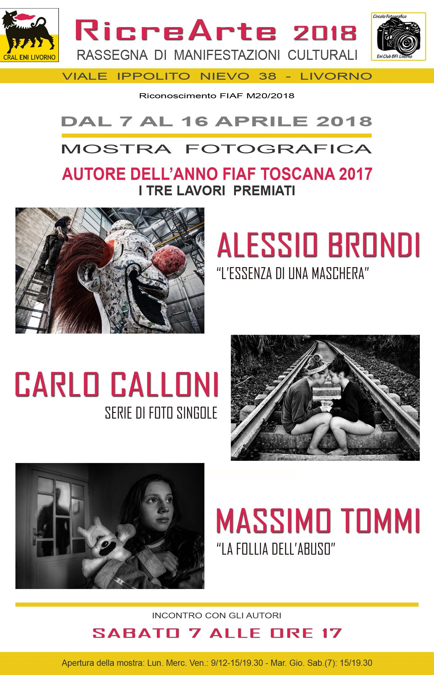 """RicreArte 2018 – Mostra fotografica """"Autore dell'anno FIAF – Toscana 2018"""""""